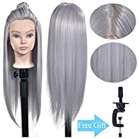 "26""-28"" Mannequin Head uper Long Synthetic Fiber Hair Manikin Head Hair Styling Hairdresser Training Head Cosmetology Doll Head for Cutting Braiding Practice with Free Clamp Stand"