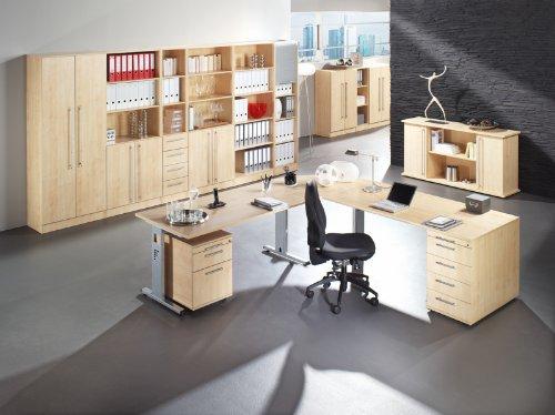 Bümö® Schreibtisch für das Büro | Bürotisch in 6 Dekoren & 7 Größen verfügbar | Büroschreibtisch (Weiß, 80_x_180_cm) - 3