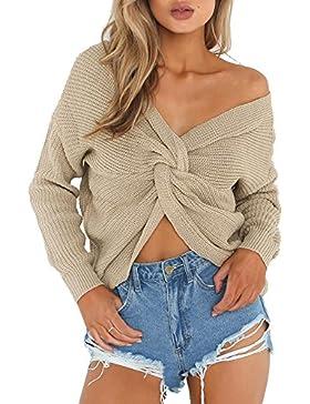 Imixcity Suéter Mujer V Profundo Suéter Escotado por Detrás Cruzado de Punto Cortos Camiseta Tejido Punto Jerséis...