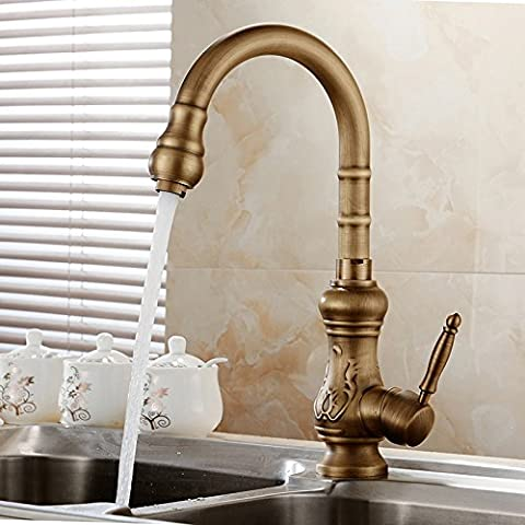 TougMoo Antique Brass Kitchen Faucet Bronze Finish,Water Tap Kitchen Swivel Spout Vanity Sink Mixer Tap Single Handle Free