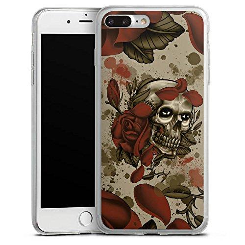 Apple iPhone 8 Slim Case Silikon Hülle Schutzhülle Tattoo Rock n Roll Totenschädel Silikon Slim Case transparent