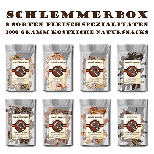 Premium Trockenfleisch Sparpaket 8 x 250g je Sorte = 2000g Dörrfleisch für Hunde |...