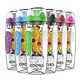Opard Trinkflasche 946 ml Fruit Infuser Sports Trinkflasche Water Bottle Tritan BPA-frei mit Kühlung Obst Flasche Kunststoff Schenken Kostenlose Obst Rezept (Grün)