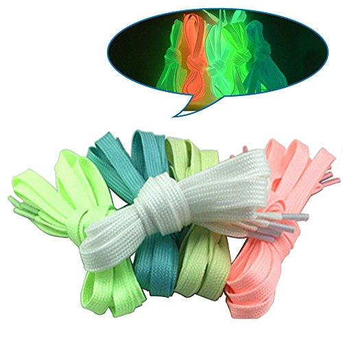 Weißes Athletisches Band (CHRISLZ 10pcs 100cm Fluoreszierende Schnürsenkel für Party oder Tanzen Leuchtende flache Schnürsenkel Glühende Athletische Schuhspitze (5-color))