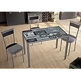 """Mesa para cocina fija con tablero de cristal templado serigrafiado """"Coffe"""" 105x60cm"""
