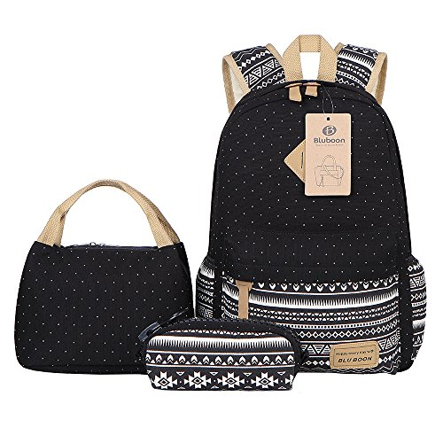 Imagen de bluboon  lona mujer  escolar casual para chicas backpack for girls 3pcs negro 03