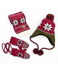 241e70bc194e Bonnets tricotés épais et chauds Flocon De Neige Hiver Enfants Pompom Ear  Warmer Hat Écharpe Gants