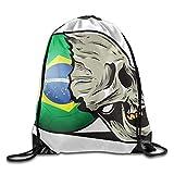Hat New Unisex Sterben für Brasilien Fußball Print Kordelzug Rucksack Rucksack Schultertaschen Tasche Sport Turnbeutel