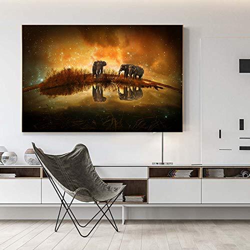 Kunst afrikanischen Elefanten schwarz und weiß Leinwand Malerei Poster und drucken moderne Wandkunst Bild Wohnzimmer (kein Rahmen) A2 20x30CM