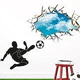 Wandaro W3389 Wandsticker Wandtattoo Wandaufkleber Fußballspieler mit Ball Schuss durch die Wand Kinderzimmer