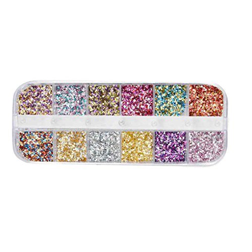 12 Grids ongles Glitter Sequin Mixte Ronde/Star Lune/Perle bricolage Flake Nail art autocollant Décorations Sunlera