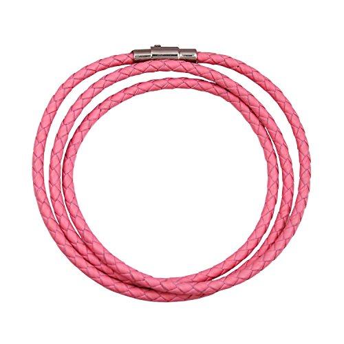 MANBARA Geflochtene Echte Leder-Armbänder Für Männer Frauen Mit Edelstahl Magnetverschluss Charm Bracelet (rosa)