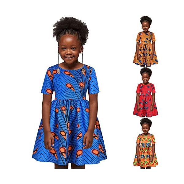 YWLINK Vestido Casual NiñA Vestido De Manga Corta con Estampado éTnico Africano Impreso Digital Abstracto 3D Lindo… 2