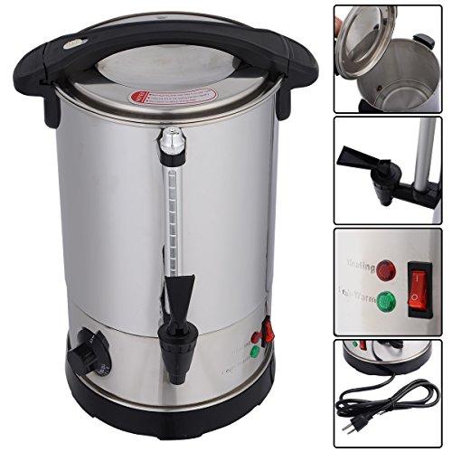 Glühweinkocher Glühweintopf Glühweinkessel Thermostat Wasserkocher Tassenwärmer Teekocher Glühweinautomat Getränkewärmer Edelstahl 6L