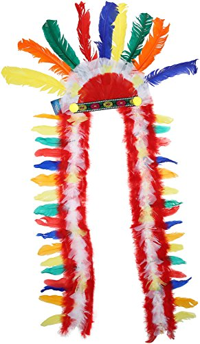 Loftus International Large Traditional Indian Chief Headdress Rainbow, One Size