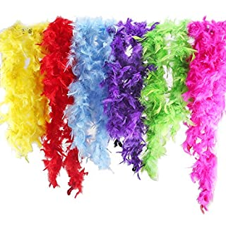 ETSAMOR 6PCS 6.6ft Colorful Party Feather, Assorted Girls Feather Boa Mardi Gras Boa, Feather Boas for Adult