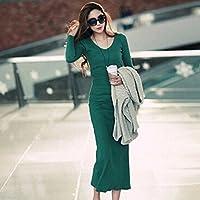 Spritech (TM)-Secondo le donne s, con scollo a V, Maglia a manica lunga, Slim Maxi Dress, verde, xxl