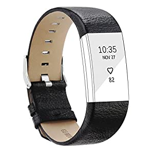 Beimaji Trade Smart Band Replacement Strap Adjustable Heart Rate Wristband Bracelet Belt Genuine Leather Strap for Fitbit Charge 2