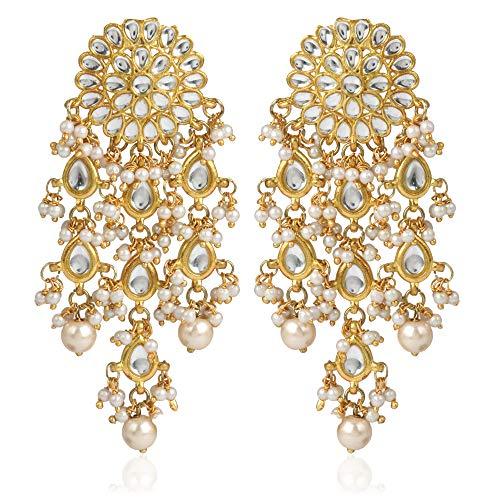 Karatcart GoldPlated Fashion Chandbali Hook Dangler Stylish Fancy Party Wear Earrings For Women