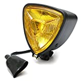 ZHUOYUE 1Pc Motorcycle Modified Retro Triangle Metal Anteriore Luci Anteriori A LED Per Harley,Black,Amber