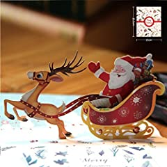 Idea Regalo - Cartolina Auguri Natale Compleanno 3D Paper Spiritz Biglietto Natale Pop Up Biglietto Auguri 3D Christmas Card