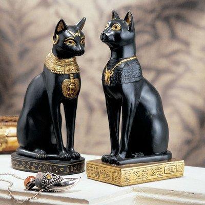 Galleria fotografica Design Toscano Statue Bastet, dea egizia dei gatti (set da due)