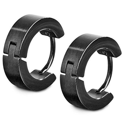 TED COLLINS 2 classici orecchini creoli neri in acciaio inox, 4mm di larghezza - Orecchini a cerchio/Creole in acciaio inox/Orecchini a perno/Creole