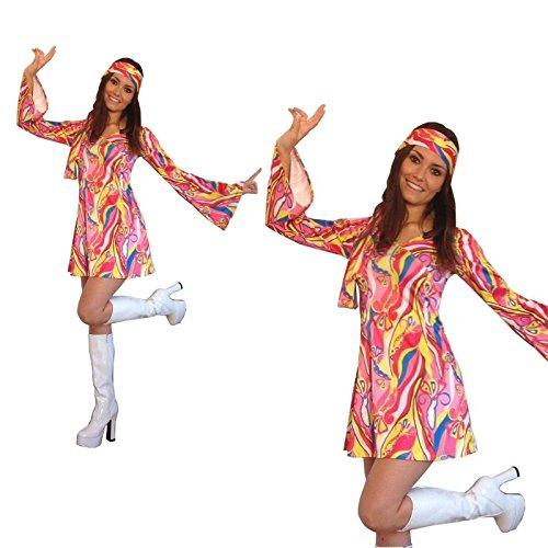 60 70er Jahre Flower Power Hippie-Retro Gogo Abendkleid Größe XL (Frauen: 14-16)