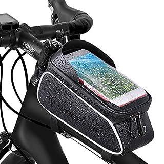 Fahrrad Rahmentasche Fahrrad Handytasche Lenkertasche Wasserdicht mit TPU Touchscreen Fahrradtasche Fahrrad Oberrohrtasche für iPhone XS Max XR X 8 7 6 6S Plus Samsung S9 S8 S7 Smartphone unter 6 Zoll