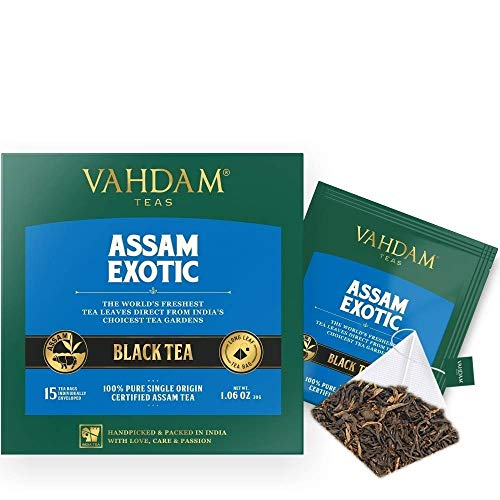 VAHDAM, Assam Black Tea (30 Tea Bags) - Long Leaf Assam Tea Bags - RICH & MALTY - Breakfast Tea Bags, FTGFOP1 Grade, 100% Certified Pure Unblended Assam Tea Loose Leaf - 15 Pyramid Tea Bags (Set of 2)
