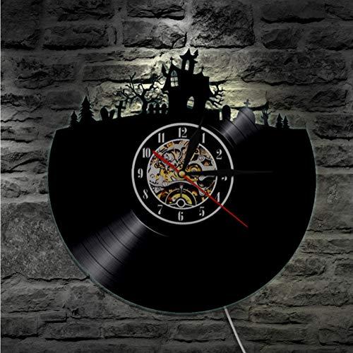 Guokee 1 Stück Halloween Dekorationen Schallplatte Wanduhr Vinyl Küche Uhr Happy Halloween Home Decor Uhrwandkunst