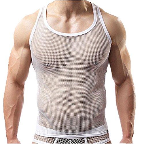 YiZYiF Herren Unterhemd aus Netz Transparent Unterwäsche Stretch Ringer T-shirt Tank Top Achselshirt Clubwear M-XL Weiß M (Mesh-stretch-unterhemd)
