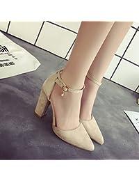 Bold hembra High-Heeled zapatos con punta ranurada con sandalias, blanco hembra 37