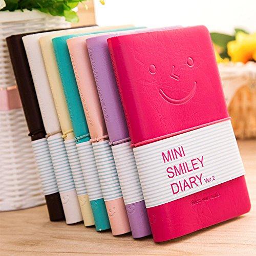 Belle Coloré Souriant Visage Mini Couverture En Cuir Notebook Journal Livre Couleur Aléatoire