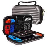 Ejut® Nintendo Switch Case Étui de protection Storage Hard Shell Antichoc pour accessoires Switch Console Joycon 10 jeux Micro SD Card Câble de chargement Earbud Case Switch Cartes de jeu Couleur Gris