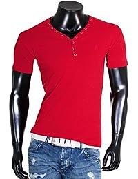 Young & Rich Herren Uni feinripp T-Shirt mit Knopfleiste & tiefem Ausschnitt deep V-Neck einfarbig 2002, Grösse:XL;Farbe:Rot