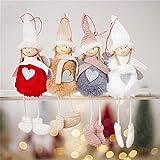 Lispeed Ciondolo a forma di bambola con angelo, confezione da 4 pezzi di bambole di stoffa dolce angelo peluche bambola albero di Natale da appendere alla porta decorazione casa di Natale ornamenti