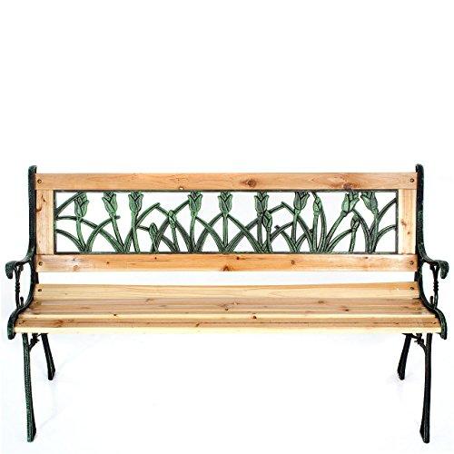 Gartenbank Holzbank Bank aus Gusseisen Holz inkl. Schutzhülle Tulpendesign - 3