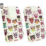 Emartbuy® Mehrfarbig Eules Print Premium PU Leder Tasche Hülle Schutzhülle Case Cover ( Größe 4XL ) Mit Ausziehhilfe Geeignet für Samsung Galaxy S5 Plus
