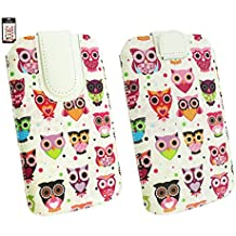 Emartbuy® iNew L4 5.5 Inch Smartphone Multi Colored Búhos Print Premium Cuero PU Slide in Bolsa Case Cover Sleeve Cover Holder ( Size 4XL ) con Mecanismo de Pestaña para Estirar