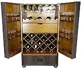 Trendyshop365 Weinschrank Koffer-Optik Höhe 130cm Weinregal Flaschenregal Antik-Stil Barkoffer Bar Weintruhe