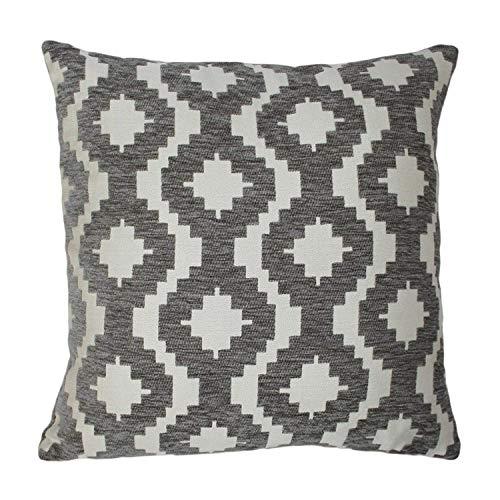 McAlister Textiles Arizona | Kissenbezug für Sofakissen in Grau | 60 x 60cm | Gewobenes geometrisches Chenille Muster | Ethno-Design Deko Kissenhülle für Sofa, Couch -