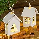 Catena a batteria 1 m, 6 casette in legno con abete, led bianco caldo, luce fissa e flashing, luci per albero di Natale, decorazione natalizia