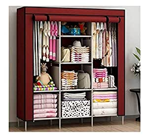 FASNO | 6+2 Layer | Fancy and Portable Collapsible Closet/Cabinet (Need to Be Assembled) (88130)(Wine Red)