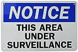 Lyle Safety Sign, Legend 'Notice: This area sotto videosorveglianza', nero/blu su bianco, 12' x 18', Black/Blue on White, 1
