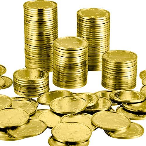 Zhanmai 200 Piezas de Moneda de Trébol de Día de San Patricio de Plástico Monedas de Buena Suerte de 3-Hojas Brillo de Mesa de Plástico (Dorado)