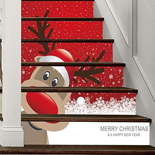 Mitlfuny Weihnachten Home TüR Dekoration 2019,Weihnachten 3D Simulation Treppe Aufkleber Wasserdichte Wandaufkleber DIY Home Decor