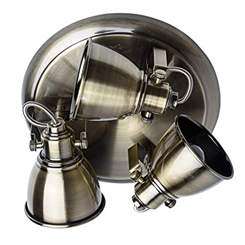 Modern and industrial wall and ceiling spotlight in factory style 3 adjustable arms antique brass metal colour round base for a kitchen lounge cafe 3*35W GU10