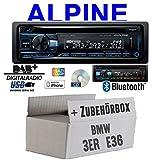 BMW 3er E36 - Autoradio Radio Alpine CDE-205DAB | Bluetooth DAB+ CD/USB/MP3 Multicolor Apple Android - Einbauzubehör - Einbauset