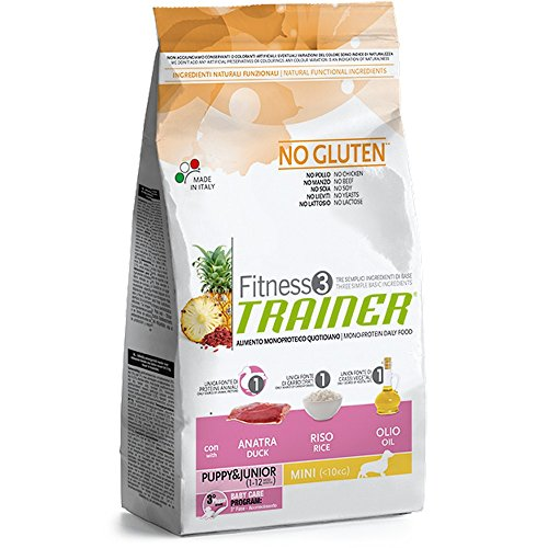 Trainer Fitness 3 No Gluten Puppy Mini con Anatra Riso e Olio 2kg, Multicolore, Unica